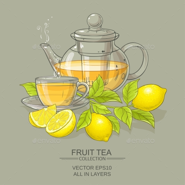 Cup of Lemon Tea and Teapot - Food Objects