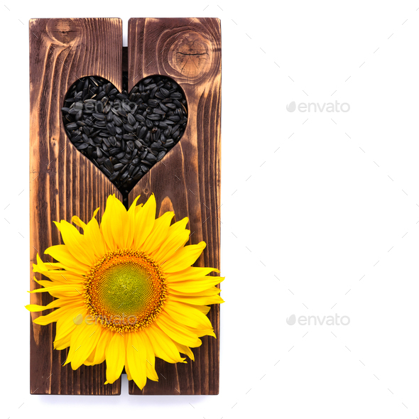 Sunflower on wooden background with heart and seeds. Top view. S - Stock Photo - Images