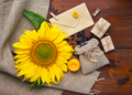 Beautiful composition with sunflower and seeds on wooden backgro - PhotoDune Item for Sale