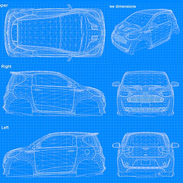 Blueprint Car - Cygnet 2011 - 3DOcean Item for Sale