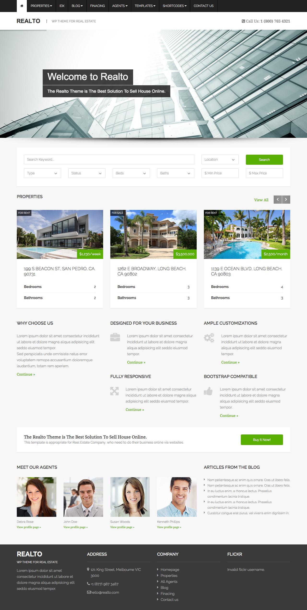 Realto   WordPress Theme For Real Estate Companies