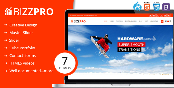 Bizzpro- Multipages Drupal 8 Multipages Theme - Business Corporate