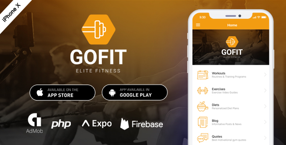 GoFit - Complete React Native Fitness App + Admin Panel            Nulled