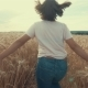 Little Girl Running Cross the Wheat Field at Sunset - VideoHive Item for Sale