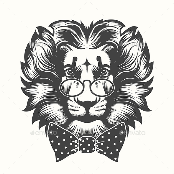 Lion Head with Round Glasses and Bow Tie - Tattoos Vectors