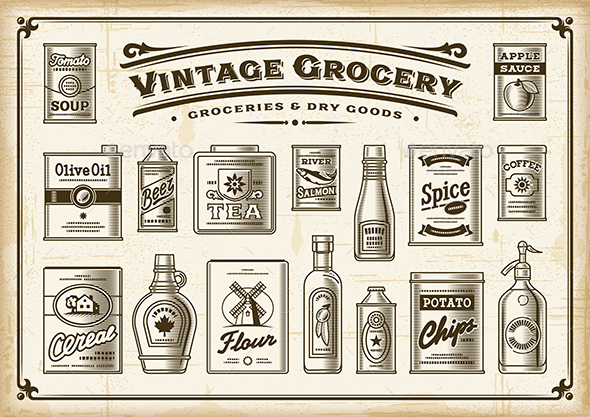 Vintage Grocery Set One Color - Food Objects