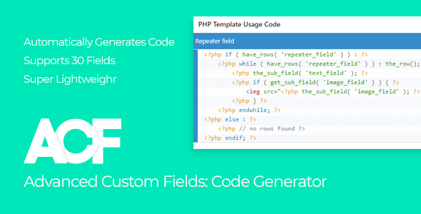 Advanced Custom Fields - Code Generator (WordPress)