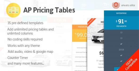 AP Pricing Tables - Responsive Pricing Table Builder Plugin for WordPress - CodeCanyon Item for Sale