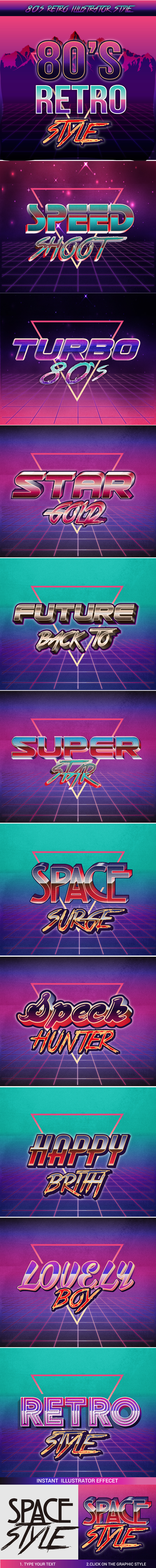 80'S Graphic Style for Adobe illustrator - Styles Illustrator