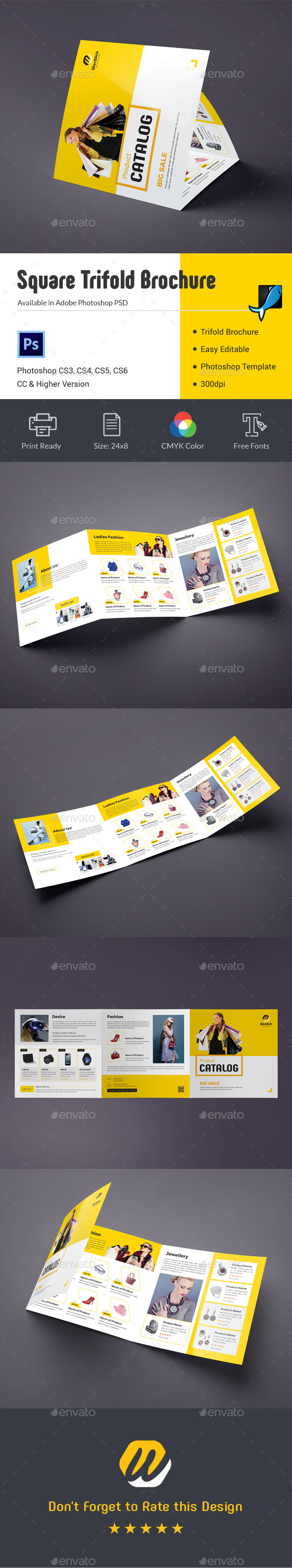 Product Promotion Square Trifold Brochure - Catalogs Brochures