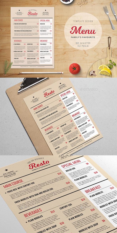 Family Resto Menu Template - Food Menus Print Templates