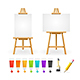 Board Easel Blank Empty Template and Paint Set - GraphicRiver Item for Sale