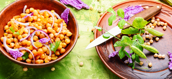 Salad with chickpeas - Stock Photo - Images