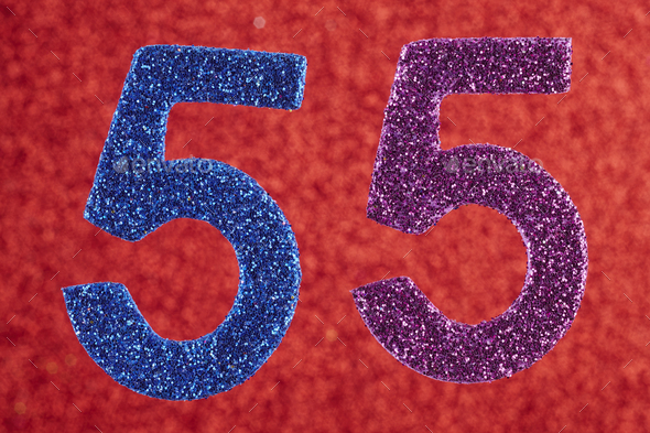 Number fifty-five blue purple over a red background. Anniversary. Horizontal - Stock Photo - Images