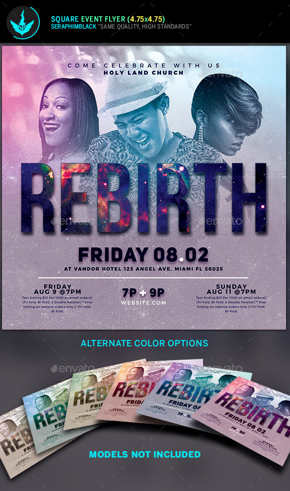 Rebirth Gospel Concert Square Flyer Template - Church Flyers