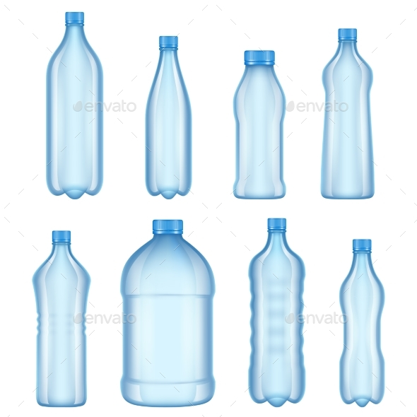 Plastic Bottles for Water Realistic Vector - Man-made Objects Objects