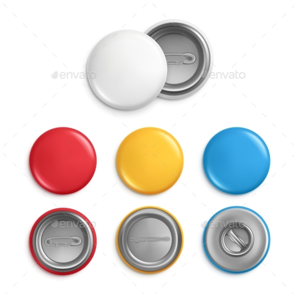 Metallic Round Badges - Man-made Objects Objects
