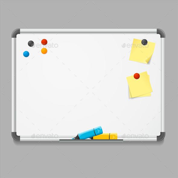 Realistic Detailed White Board - Man-made Objects Objects