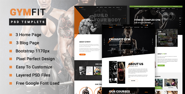 GYM FIT - Gym & Fitness PSD Template