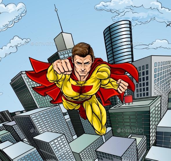 Caped Flying Super Hero City Scene - Miscellaneous Vectors