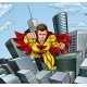 Caped Flying Super Hero City Scene - GraphicRiver Item for Sale