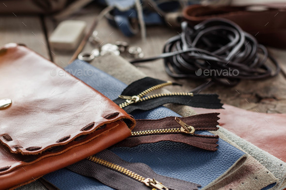 Bags leather on floor - Stock Photo - Images