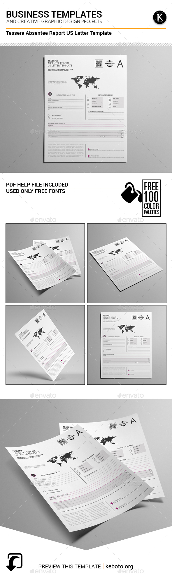 Tessera Absentee Report US Letter Template - Miscellaneous Print Templates