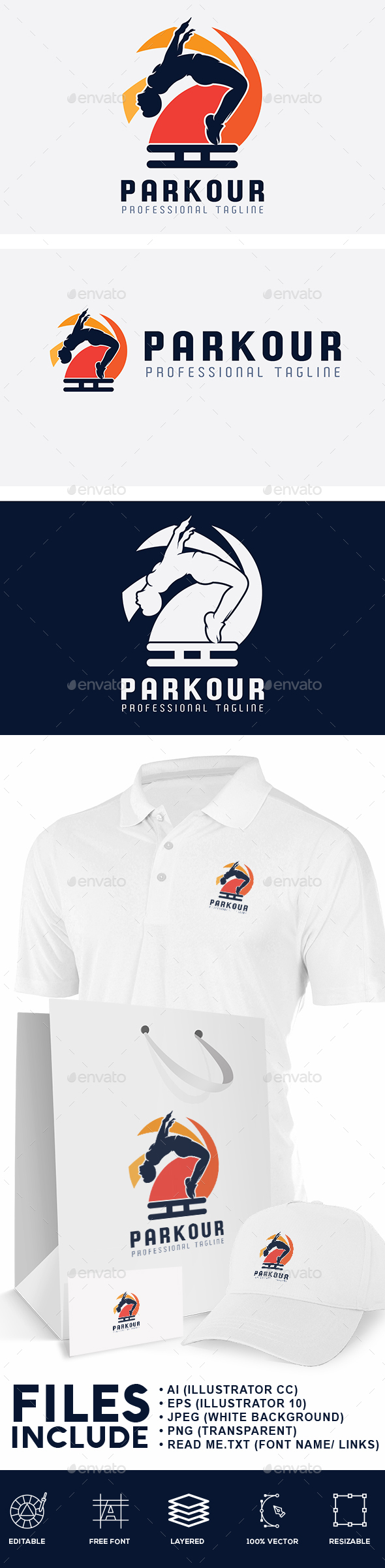 Parkour Sport Logo - Sports Logo Templates