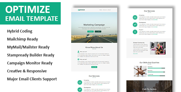 Optimize – Multipurpose Responsive Email Template with Online StampReady Builder Access (Newsletters) 01 preview