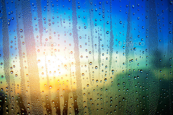 Water droplets at sunrise - Stock Photo - Images