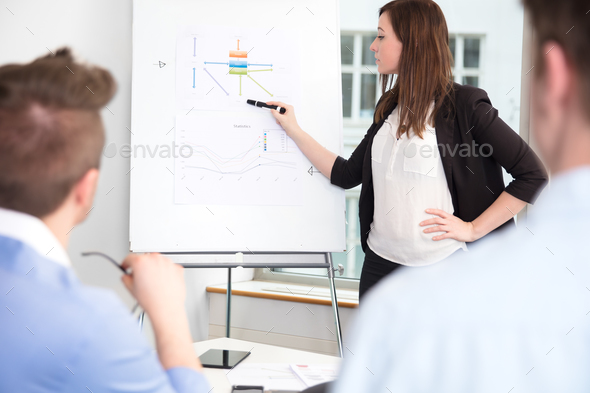 Businesswoman Explaining On Flipchart To Colleagues In Office - Stock Photo - Images