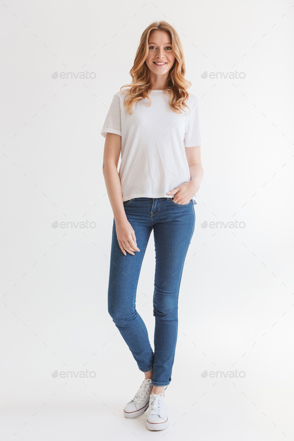 Pretty young cute redhead woman - Stock Photo - Images