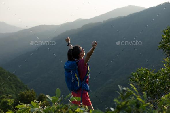 Hiking on sunrise mountain top   - Stock Photo - Images
