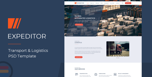 eXpeditors - Transport & Logistics PSD Template - Business Corporate