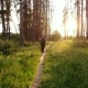 Sports Woman Running in Woods Along Trail - VideoHive Item for Sale
