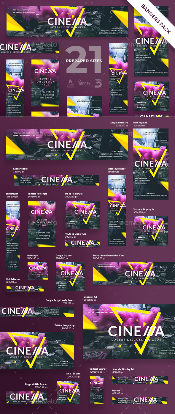 Cinema Club Banner Pack - Banners & Ads Web Elements