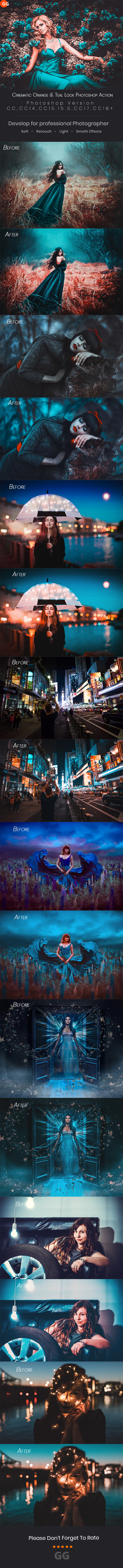 10 Cinematic Orange & Teal Look Photoshop Action - Photo Effects Actions