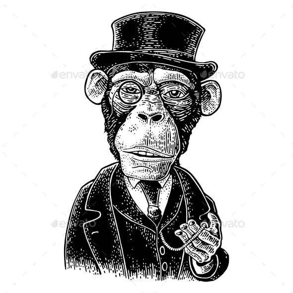 Monkey Gentleman Holding a Watch and Dressed Hat - Animals Characters