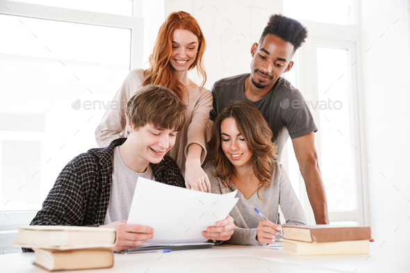 Image of smiling young friends students - Stock Photo - Images