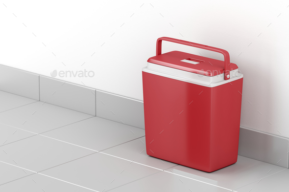 Red cooling box - Stock Photo - Images
