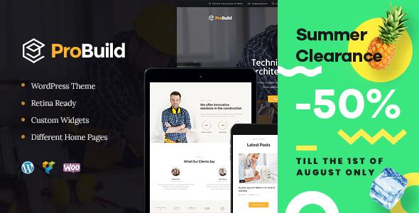 ProBuild | A Construction Business & Building Company WordPress Theme - Business Corporate