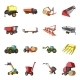 Agricultural Machinery Cartoon Icons Set