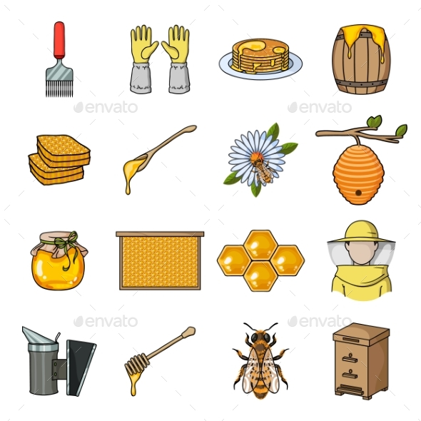 Apiary and Beekeeping Cartoon Icons in Set - Miscellaneous Vectors