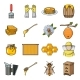 Apiary and Beekeeping Cartoon Icons in Set - GraphicRiver Item for Sale