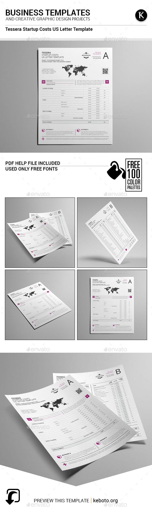 Tessera Startup Costs US Letter Template - Miscellaneous Print Templates