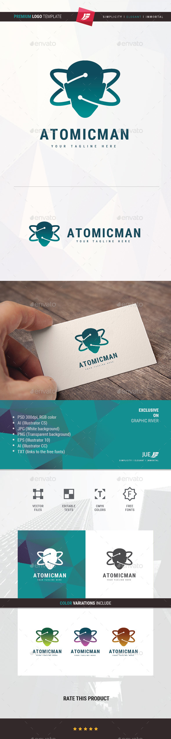 Atomic Man Logo - Symbols Logo Templates