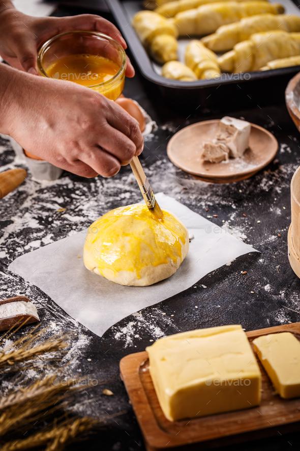 Unprepared sweet bun - Stock Photo - Images