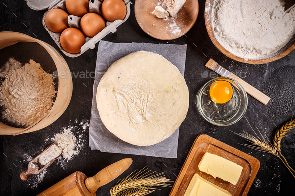 Dough preparation recipe ingridients - Stock Photo - Images