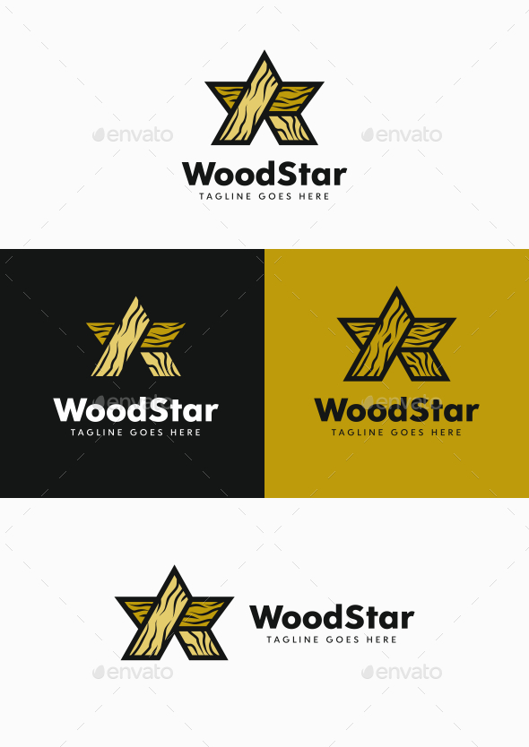 Wood Star - Symbols Logo Templates