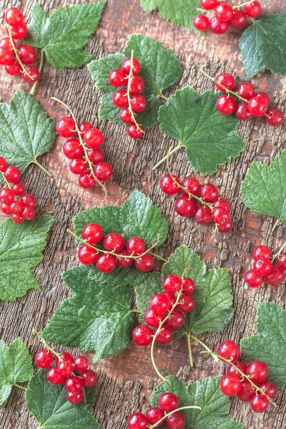 1Black and red currant on the wooden board - Stock Photo - Images